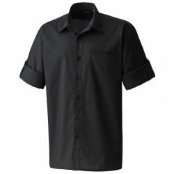 "Premier Mens ""Roll Sleeve"" Poplin Plain Work Shirt 2XL Svart"
