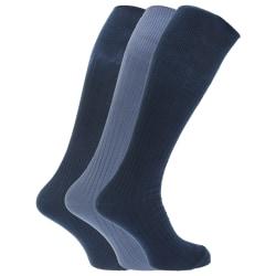Ribbade knähöga 100% bomullsstrumpor för män (paket med 3) 6-11