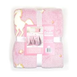 RJM Glow In The Dark Unicorn Blanket 127 x 152cm Rosa