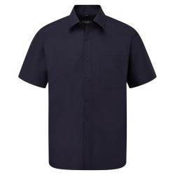 Russell Samling kortärmad polyk bomull enkelvård Poplin-skjorta