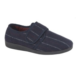 Sleepers Herr Carl Touch Fasten Slipper 12 UK Navy Velour