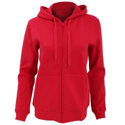 SOLS Kvinnor / Ladies Seven Full Zip Hooded Sweatshirt / Hoodie MR Red M