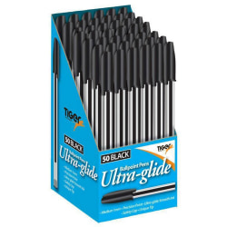 Tiger Stationery Ultra Glide Ballpoint Ink-pennor Box of 50 Svar