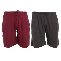 Tom Franks Jersey Lounge Shorts (2 Pack) MEDIUM Vin / mörkgrå Ma