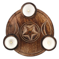 Triple Moon Tea Light Candle Holder One Size Brun