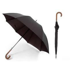 Unisex vanlig svart paraply med trähandtag (Premium Pongee-tyg)