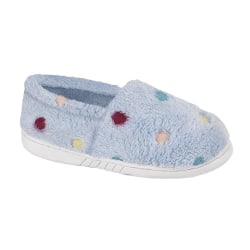 Zedzzz Barnflickor Molly Dotted Plush Slipper 1 Childs UK Blå