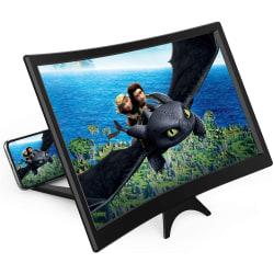 """12 """"böjd skärmförstoringsglas för mobiltelefon -3D HD förstoringsglas"""