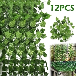 12PCS konstgjorda gröna bladkransplantor gröna heminredning