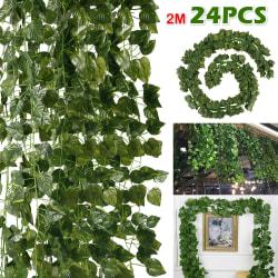 24PCS konstgjorda gröna bladkransplantor gröna heminredning