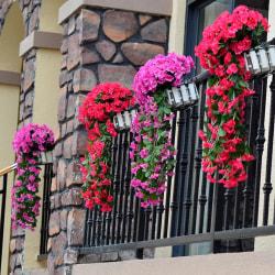 Konstgjord växt, väggmonterad konstgjord violett blommarotting