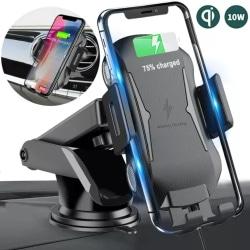 Automatisk klämma Qi trådlös telefonhållare laddare för laddare