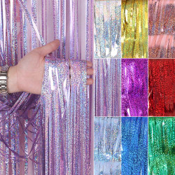 Birthday party curtain decoration, laser rain curtain Rose Red 1 * 1m