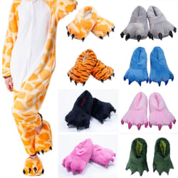 Dinosaur Claw Monster Slippers Soft Plush Feet Shoes Cosplay Rose Red L(Men)