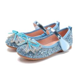 Flickor paljett kristall skor platt glänsande rosett bankett prinsessan skor Blue 26