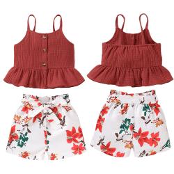 Flickans växtavtryck, ärmlös tvådelad kostym (topp + shorts)