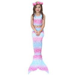 Flickor sommar mode bikini tryck sjöjungfru tredelad baddräkt Blue pink 140cm