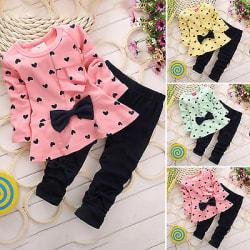 Barn långärmad bowknot t-shirt klänning randig + byxor set Pink 90