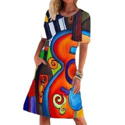 Dam sommar ny stil kortärmad casual tryckt klänning red L