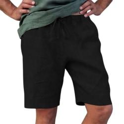 Bomulls- och linnemäns sportshorts med dragkedja för män black L