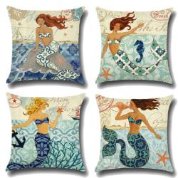Snail Mermaid tryckt soffkudde, hem sovrum dekoration