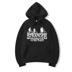Stranger saker tidvatten märke med huva sweatshirt sport gym topp black S