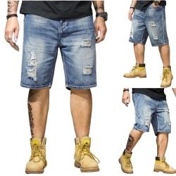 Sommar tunna män casual street rippade fett jeansshorts M