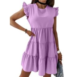 Ruffad kortärmad klänning för kvinnor _ Födelsedagsfest datumklänning purple L