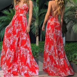 Kvinnors sexiga djupa V rygglösa ärmlösa klänning strandklänning red S