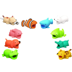 10 x Animal Protectors for cables - Kabelskydd  MultiColor one size