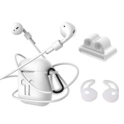 4i1 Airpods-kit med skyddande silikon, öronkrok grepp och remmar Vit