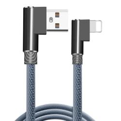 Flätad 2.4A kabel - 3 meter lång Lightning! grå one size