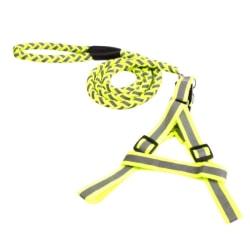 Flätat hållbart nylonkoppel med reflex - Grön Yellow M