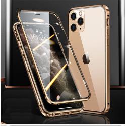 Magnetiskt fodral dubbelsidigt härdat glas for Iphone 11 Guld one size