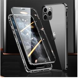 Magnetiskt fodral dubbelsidigt härdat glas for Iphone 12 Mini Svart one size