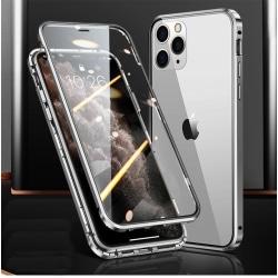Magnetiskt fodral dubbelsidigt härdat glas for Iphone X/Xs Silver one size