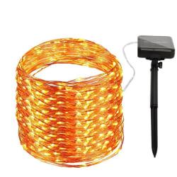 Solcellsdriven ljusslinga med 100 LED-lampor Varm vit one size
