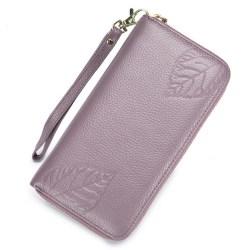 Stor äkta läder RFID plånbok 090 Lila one size