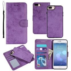 Suede magnetfodral för iPhone 7+/8+ med magnetlås. Lila one size