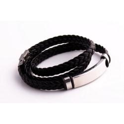 Unisex läder och rostfritt stål Twisted armband Svart one size