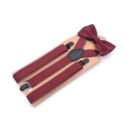 Slitstarka Y-formade hängslen och fluga-set Röd one size
