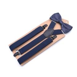 Slitstarka Y-formade hängslen och fluga-set Blå one size