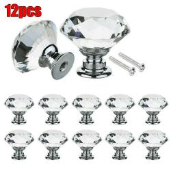 1/4 / 6/8/10 / 12st Hemmöbler Diamantformat kristallhandtag 12pcs