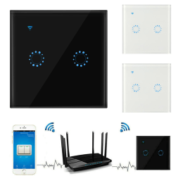 2 Gang Smart WIFI Wall Touch Light Switch APP Remote Control Black