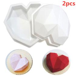 2st Bakverktyg Silikon Hjärtform Mögel Diamond Cake Decor 2PCS