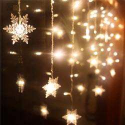 3.5M 96LED Fairy Lights Curtain Snowflake Christmas Home Decor Warm White