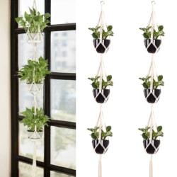 3 lager Macrame Plant Flower Pot Holder Hanging Rope Wall Art