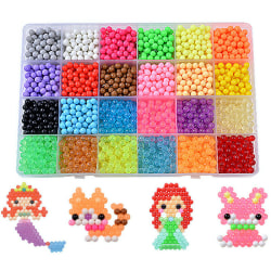 3200Pcs Refill Crystal Aqua Water 24  Beads Colors Packings 24 cells