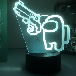 3D LED Night Light Among Us Game 7 Color Change Touch Lamp