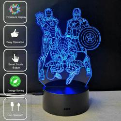 3D LED The Avengers Spiderman Ironman 7Colors Lamp Barngåvor